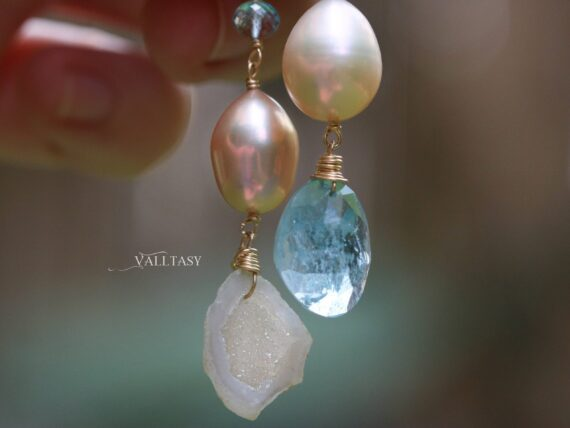 Solid Gold 14K Mismatched Pearl and Aquamarine Earrings, One of a Kind