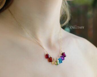 Solid Gold 14K Rainbow Gemstone Necklace with Colorful Precious Stones