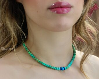 Solid Gold 14K Turquoise and Lapis Lazuli Gemstone Necklace, One of a Kind