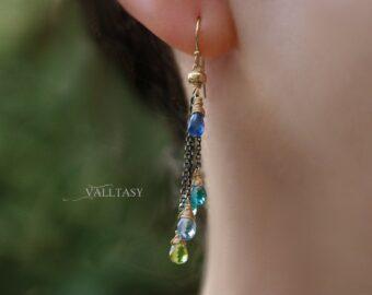 Tassel Earrings with Multi Gemstone Precious Stones, Mixed Metal Earrings