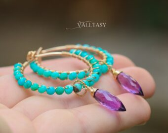 Turquoise Hoop Earrings with Amethyst Dangle Charms