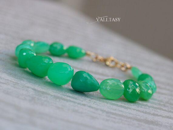 Solid Gold 14K Green Chrysoprase Bracelet, Large Nugget Green Gemstone Bracelet
