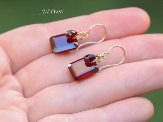 Solid Gold 14K Hessonite Garnet Earrings with Mozambique Garnet Drops