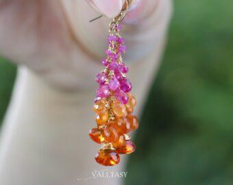 Solid Gold 14K Pink Sapphire and Spessartite Garnet Earrings, Pink Orange Cluster Gemstone Earrings