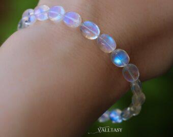 Solid Gold 14K Rainbow Moonstone Oval Bracelet, Finest Moonstone Bracelet