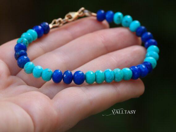 Solid Gold 14K Turquoise and Lapis Lazuli Gemstone Bracelet