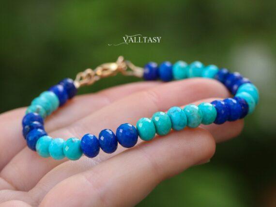 Turquoise and Lapis Lazuli Gemstone Bracelet