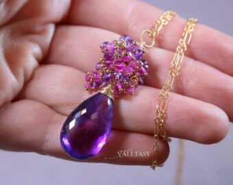 Electric Purple Amethyst Pendant Necklace with Pink Sapphires and Pink Rubies