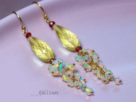 Ethiopian Opal and Lemon Quartz Earrings, Long Dangle Earrings, Limited Edition