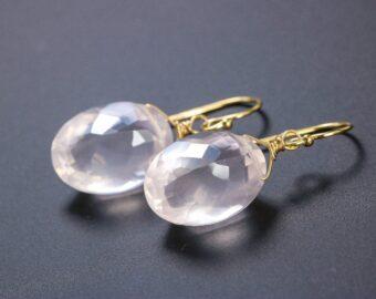 Genuine Rose Quartz Oval Earrings in Gold Filled