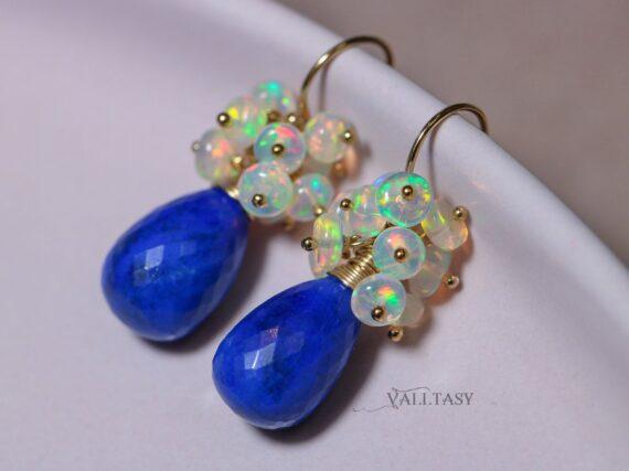 Lapis Lazuli with Ethiopian Opal Earrings, Small Gemstone Cluster Earrings