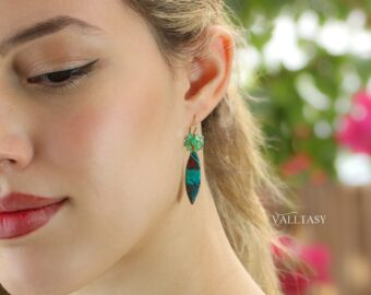 Colombian Emeralds and Sonora Sunrise Earrings in 14K Gold Filled, One of a Kind