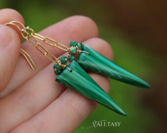 Malachite Earrings, Green Gemstone Earrings in 14K Gold Filled, One of a Kind