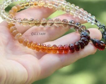 Multi Gemstone Fall Palette Gemstone Necklace with Garnet, One of a Kind