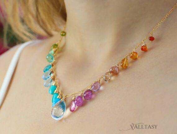 Multi Gemstone Necklace, Precious Drop Candy Necklace