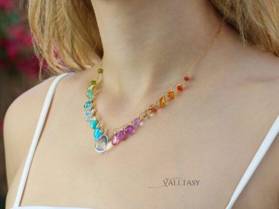 Solid Gold 14K Multi Gemstone Necklace, Precious Drop Candy Necklace