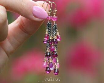 Pink Sapphire, Pink Tourmaline and Rhodolite Garnet Tassel Earrings, Mixed Metal Earrings