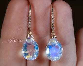Solid Gold 14K Diamond Oval Rainbow Moonstone Earrings