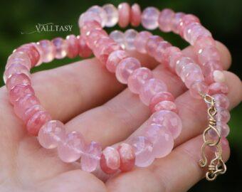 Solid Gold 14K Rose Quartz and Rhodochrosite Gemstone Necklace, One of a Kind