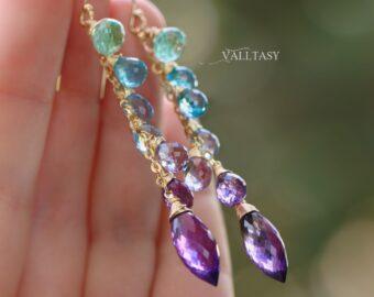 Aqua Blue Purple Gemstone Dangle Earrings with Amethyst and Topaz