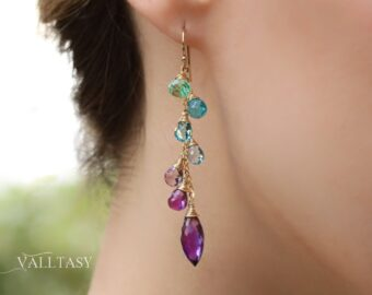 Solid Gold 14K Aqua Blue Purple Gemstone Dangle Earrings with Amethyst and Topaz