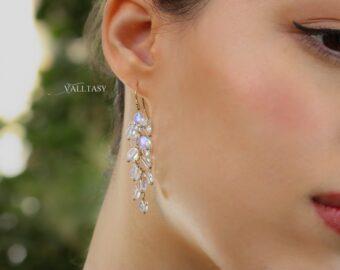 Rainbow Moonstone Dangle Cluster Earrings, Finest Quality Moonstone Earrings