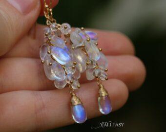 Rainbow Moonstone Earrings, Luxury Cascade Earrings