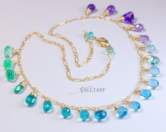 Solid Gold 14K Aqua Blue Purple Gemstone Drop Necklace, Statement Semi Precious Stone Necklace