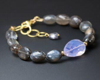 Solid Gold 14K Lavender Black Gemstone Bracelet, Semi Precious Stone Bracelet