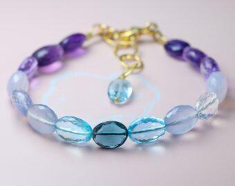 Solid Gold 14K Lavender Blue Purple Gemstone Bracelet, Semi Precious Stone Bracelet, One of a Kind