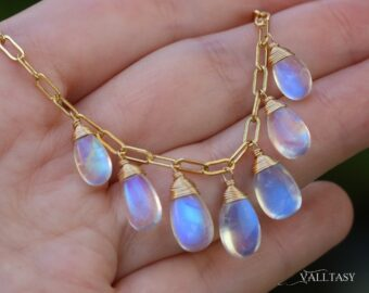 Solid Gold 14K Rainbow Moonstone Necklace, Paperclip Chain, Dainty Necklace