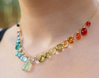 Solid Gold 14K Rainbow Multi Gemstone Necklace, Precious Drop Necklace