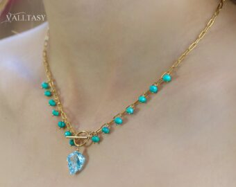 Topaz and Turquoise Gold Filled Necklace